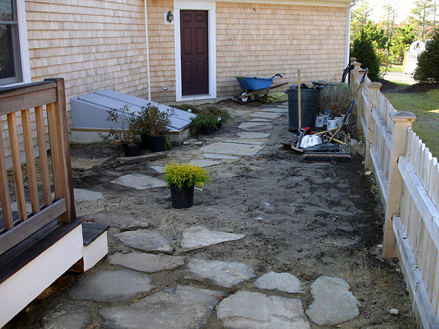 1 backyard slate patio installation