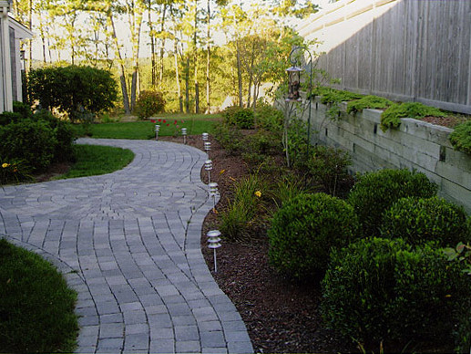 2 custom stone circular patio and walkway