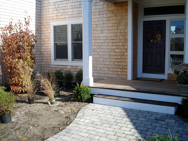 4 shrub planting beside front door